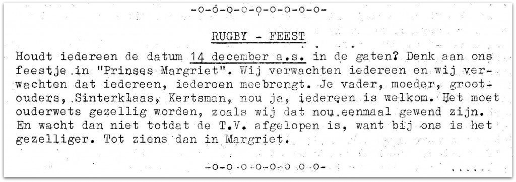 1963-12-02 Scrum Feest in Prinses Margriet